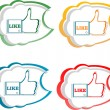 Set of like stickers label with hands — Stock Vector