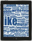 De negocios y financieros palabras en la pantalla de tablet pc. vector — Vector de stock