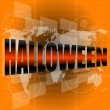 Stock Photo: Abstract orange background with word halloween - october holiday theme