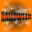 Abstract orange background with word halloween - october holiday theme — Stock Photo