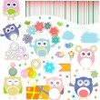 Birthday party elements with funny owls. Vector set — Stock Vector #14094310