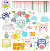 Birthday party elements with funny owls. Vector set — Stock Vector
