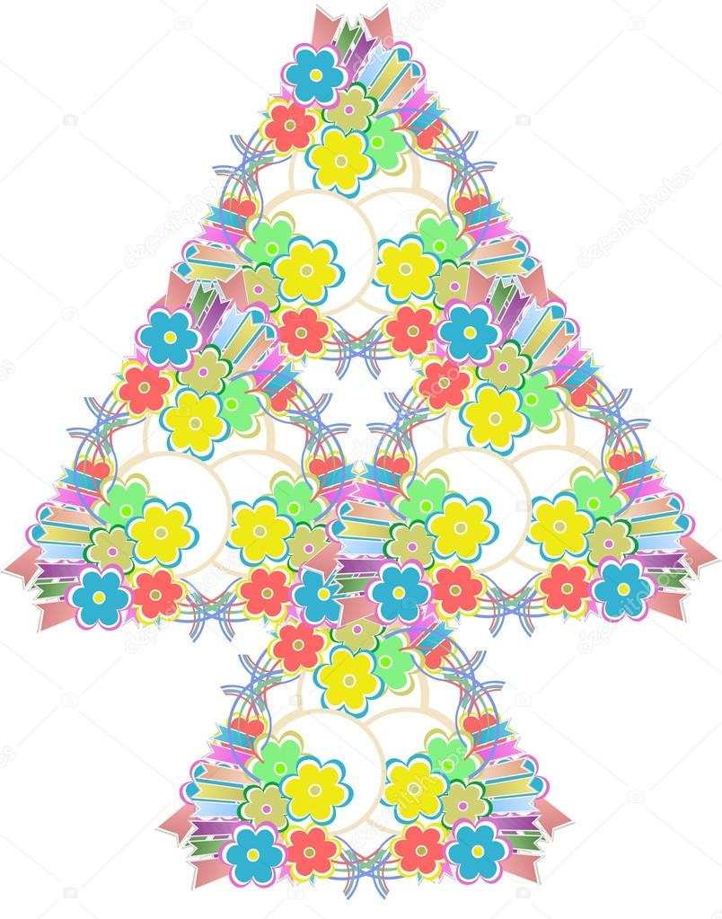 Abstract flowers tree on white background — Stock Vector #14090567