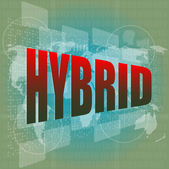 The word hybrid on digital screen, business concept — Stock Photo