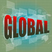 The word global on digital screen, business concept — Photo