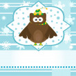 Winter background with cute owl — Stock Photo