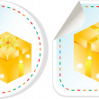 Royalty-Free Stock Photo: Set of stickers - yellow gift boxes