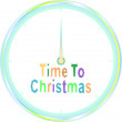 Christmas clock with christmas greeting words - Stock Photo