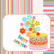 Stock Photo: New Year cakes on abstract background with flowers