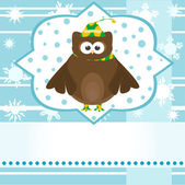Winter background with cute owl — Stockfoto