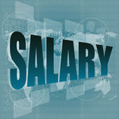 Salary word on digital screen with world map - business concept — Stock Photo