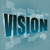 Vision word on digital screen with world map - business concept — Stock Photo