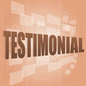 Words testimonial on digital screen, business concept — Stock Photo