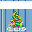 Abstract background with Christmas tree balls. Happy New Year — Lizenzfreies Foto