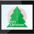 New year and christmas tree on tablet pc — Stock Photo
