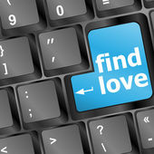 A keyboard with a find love button - social concept — Stock Photo