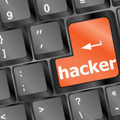 Hacker word on keyboard, cyber attack, cyber terrorism concept — Stock Photo