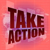 Take action word on digital screen with world map - business concept — Stock Photo