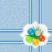空白明信片、 圣诞球和蓝色背景上的杉木树 — 图库照片