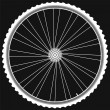 Bike wheel with tire and spokes isolated on black background — Stock fotografie