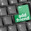 Keyboard with green add as friend button, social network concept — Stok fotoğraf