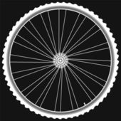 Bike wheel with tire and spokes isolated on black background — Stock Photo