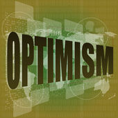 Life concept: words optimism on digital screen — ストック写真