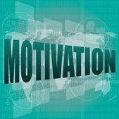 Words motivation on digital screen, job and business concept — Stock Photo