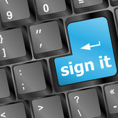 Sign it or login concept with key on computer keyboard — Stock Photo