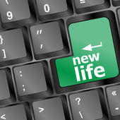 Black keyboard with new life words — Stock Photo
