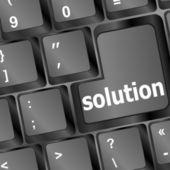 Mot de la solution sur du clavier noir — Photo