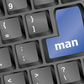 Man words on computer pc keys — Stock Photo