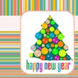 Vintage Christmas card with tree and balls - new year holiday — Stock Photo #15374571