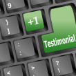 Stock Photo: Testimonials computer key shows recommendations online
