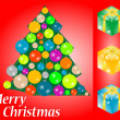 Red christmas card with gift, tree and bauble — Stock Photo