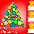 Christmas tree with balls and lemur with blank card — Stock Photo