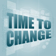 Time concept: pixelated words Time to change on digital screen — Stockfoto #15752799