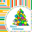 Christmas tree with balls on abstract background — Stok fotoğraf