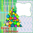 Greeting with christmas tree on abstract background — Stock Photo