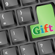 New year gift words on green keyboard button - christmas — Stock Photo