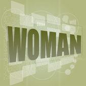 Worte Frau auf digitalen Bildschirm, social-Konzept — Stockfoto