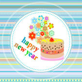 Flowers and christmas greetings, new year card with a cake — Stock Photo