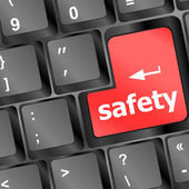 Safety first concept with red key on computer keyboard — Stock Photo