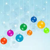 Tarjeta azul con bolas de navidad — Foto de Stock