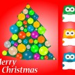 Merry christmas card design. cute owls with blank card — Stock Photo
