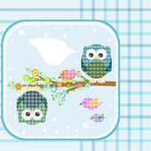 Textile owl and bird on floral branch tree with empty bubbles — Stock Photo