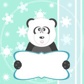 Baby winter background with funny young teddy bear panda — Stock Photo