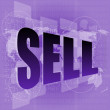 Stock Photo: Pixeled word sell on digital screen - business concept