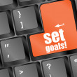 Set goals button on keyboard - business concept — Stok fotoğraf