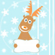 Cute reindeer hold billboard winter background — Stock Photo